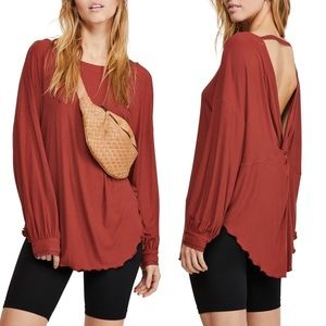 Free People Shimmy Shake Long Sleeve Top X-Small